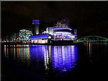 SJ8097 : Manchester Ship Canal, Lowry Centre and Liftbridge by David Dixon
