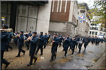 TQ3281 : View of trumpeters and a saxophonist in the Lord Mayor's Parade on Gresham Street by Robert Lamb