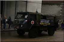 TQ3281 : View of an army truck in the Lord Mayor's Parade on Gresham Street #2 by Robert Lamb