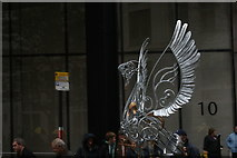 TQ3281 : View of a metal swan in the Lord Mayor's Parade from Gresham Street by Robert Lamb