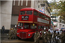 TQ3281 : View of a Routemaster bus in the Lord Mayor's Parade on Gresham Street by Robert Lamb