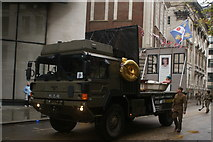 TQ3281 : View of an army truck in the Lord Mayor's Parade on Gresham Street #4 by Robert Lamb