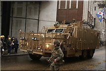 TQ3281 : View of an army truck in the Lord Mayor's Parade on Gresham Street #5 by Robert Lamb