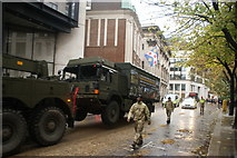 TQ3281 : View of an army truck in the Lord Mayor's Parade on Gresham Street #8 by Robert Lamb