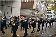 TQ3281 : View of trumpeters in the Lord Mayor's Parade from Gresham Street #2 by Robert Lamb