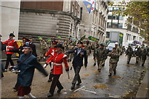 TQ3281 : View of soldiers in the Lord Mayor's Parade from Gresham Street #14 by Robert Lamb