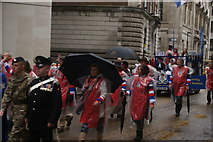 TQ3281 : View of Great Ormond Street volunteers in the Lord Mayor's Parade from Gresham Street by Robert Lamb