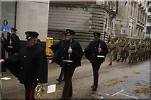 TQ3281 : View of clarinet players in the Lord Mayor's Parade from Gresham Street by Robert Lamb