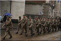 TQ3281 : View of soldiers in the Lord Mayor's Parade from Gresham Street #18 by Robert Lamb