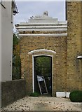 TQ3370 : Side entrance with Coade-stone lion, Belvedere Road, SE19 by Stefan Czapski