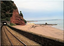 SX9675 : View from a Plymouth-Exeter train - tunnel by Shell Cove by Nigel Thompson