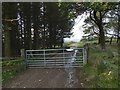 NS4178 : Gate on path to Highdykes Farm by Lairich Rig