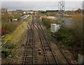 SO8963 : Towards a railway junction and signalbox, Droitwich by Jaggery
