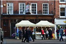 SO8554 : Market stalls on High Street, Worcester by David Martin