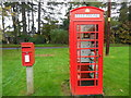 SU7183 : Red post box and telephone box at Shepherd's Green by David Hillas