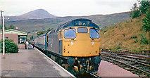 NN3825 : Crianlarich station, with class 26 Diesel on Up express, 1976 by Walter Dendy, deceased