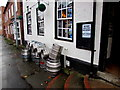 SO8963 : Kegs and an unusual welcome outside the Hop Pole, Droitwich by Jaggery