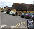 SP0937 : Warner's Budgens deliveries area and white van, Broadway by Jaggery