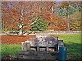 NY5361 : Memorial bench, Murray Park by Rose and Trev Clough