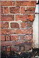 SP7840 : Weathered benchmark on Congregational Church wall pier by Roger Templeman