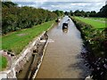 SJ6558 : Boat approaching Minshull Lock, Middlewich Branch by Christine Johnstone