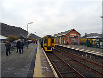 SH5639 : An Arriva Wales train, just arrived at Porthmadog Station by John Lucas