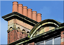 J3374 : Chimney pots, nos 95-107 North Street, Belfast (February 2016) by Albert Bridge
