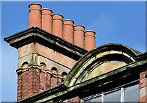 J3374 : Chimney pots, nos 95-107 North Street, Belfast (February 2016) by Albert Bridge