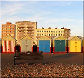 TQ2704 : Beach Huts 222-226, Western Esplanade, Hove by Simon Carey
