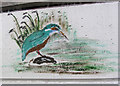 SP8213 : Kingfisher painted on Bridge 19 of the Aylesbury Canal by Chris Reynolds