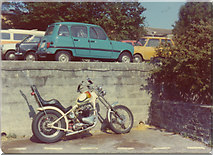 SX7962 : Chopper motorbike at Higher Close, Dartington by David Howard archives