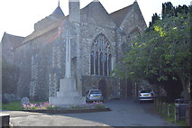 TQ9220 : War Memorial & Church of St Mary by N Chadwick