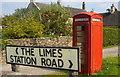 ST8082 : Street Sign & Phonebox, Badminton, Gloucestershire 2011 by Ray Bird