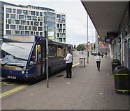 ST1876 : X2 bus for Porthcawl at the Cardiff city centre terminus by Jaggery