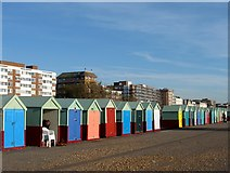 TQ2704 : Beach Huts, Western Esplanade, Hove by Simon Carey