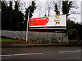 ST2986 : Vodafone advert facing Cardiff Road, Maesglas, Newport by Jaggery