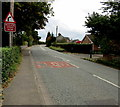 SJ6650 : Warning sign - bend - reduce speed now near Stapeley by Jaggery