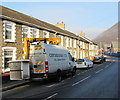 ST2193 : Centregreat van with a Versalift, Newport Road, Cwmcarn by Jaggery