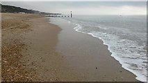 SZ1090 : View along the tide line on Bournemouth Beach by David Martin