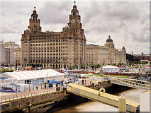 """SJ3390 : Liverpool Cruise Liner Terminal and """"The Three Graces"""" by David Dixon"""