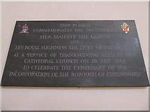 TL7006 : Chelmsford Cathedral: commemoration of a royal visit by Basher Eyre