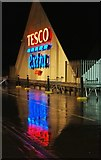 NS2776 : Tesco Greenock at night by Thomas Nugent