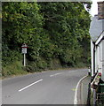 SH7401 : Warning sign - skid risk for 4 miles ahead on the A487 north of Machynlleth by Jaggery