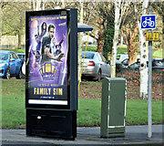 J3371 : Scrolling telephone box advertising, Belfast - January 2017(1) by Albert Bridge