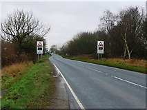 SE6722 : Warning of a level crossing on the A614 by Christine Johnstone