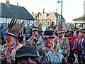 TL2797 : Red Leicester Morris Men leave The Market Place - Whittlesea Straw Bear Festival 2017 by Richard Humphrey