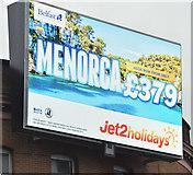 J3373 : Jet2 digital advertisement, Belfast (January 2017) by Albert Bridge