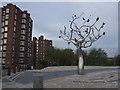 SJ8848 : Tree Stories Sculpture, Hanley by Brian Deegan
