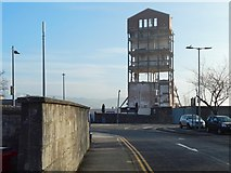NS3975 : Ballantine's Distillery brick tower during demolition by Lairich Rig