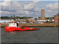 SJ3391 : Dredger Passing Mersey Tunnel Ventilation Building by David Dixon
